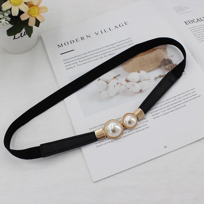 Belt Ladies Dress Fashion Pearls Buckle Elastic Waistband Wild Elastic Waist Girdle Decorative Waist Belt  Hot Sale