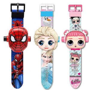 Girls Watches Spiderman Projection Digital Elsa Cartoon-Pattern Boys Princess Kids 3D