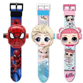 Princess Elsa Girls Watches Kids 3D Projection Cartoon Pattern Spiderman Children Watch Boys Digital Wristwatches Dropshipping