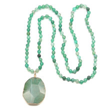 Fashion Beads Jewelry for Men Women Bohemian Green Agate Stone Long Necklace Section Face Pendant Natural Necklaces 90cm
