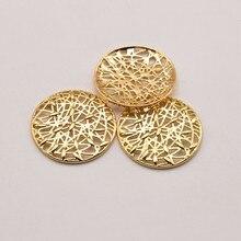 5 Pçs/lote 27.5 milímetros 18K Latão Banhado A Ouro Geométrica Malha Circular Junta Componentes Da Jóia Para Fazer Jóias Colar JA0388