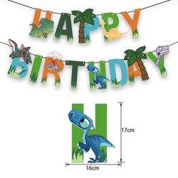 Динозавр тема декоративная бумага для вечеринок баннер, флаг с принтом динозавра и именинников с тянуть флаг принадлежит баннер на день рож...