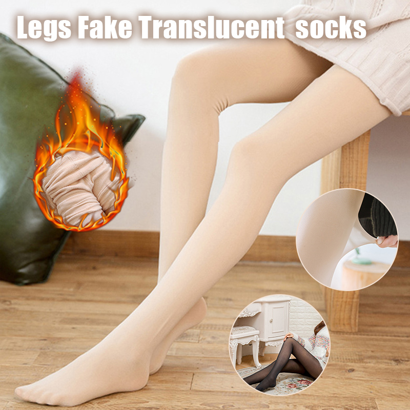 Legs Fake Translucent Fleece Lined Pantyhose Slim Stretchy Warm Leggings For Winter Outdoor  KS-shipping