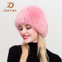 ZDFURS*Women Winter Natural Real Fox Fur Hat Elastic Warm Soft Fluffy Genuine Cap Quality Bomber Hats