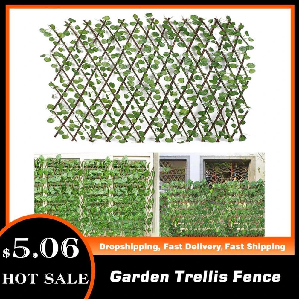 Retractable Artificial Garden Trellis Fence Expandable Faux Ivy Privacy  Fence Wood Vines Climbing Frame Gardening Plant Decor