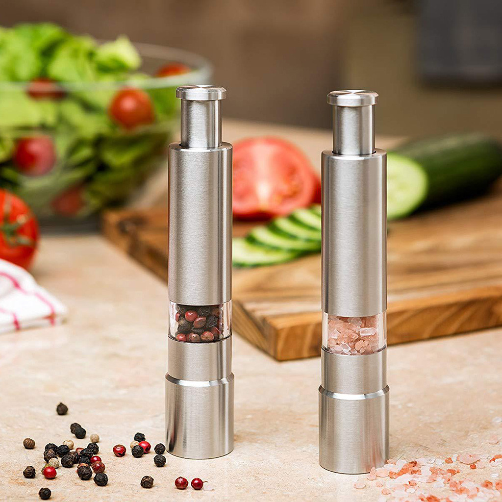 Salt Pepper Mills Grinder Pimenta Manual Push Silver Corn Mustard Thumb Push Grinder Spice Sauce Muller Stick Kitchen Tools 7P-in Mills from Home & Garden