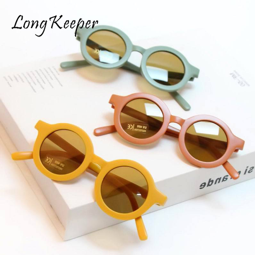 LongKeeper Retro Round Sunglasses For Kids Boys Girls Eyeglasses Child Sun Glasses Baby Shades Eyewear UV Protection Oculos Gafa