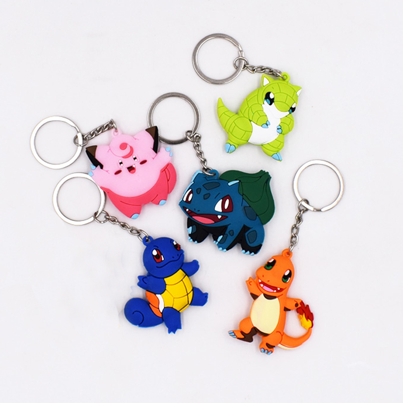 6Style New Arrival 4-6cm Keychain Pendant Cartoon Figures PVC Bulbasaur Charmander Clefairy Sandshrew Squirtle Keyrings