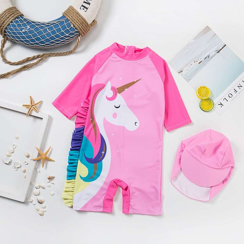 Baby GIRL'S One-piece KID'S Swimwear South Korea INS Cartoon GIRL'S Girls Big Boy Sun-resistant Quick-Dry Swimwear Swimming Trun