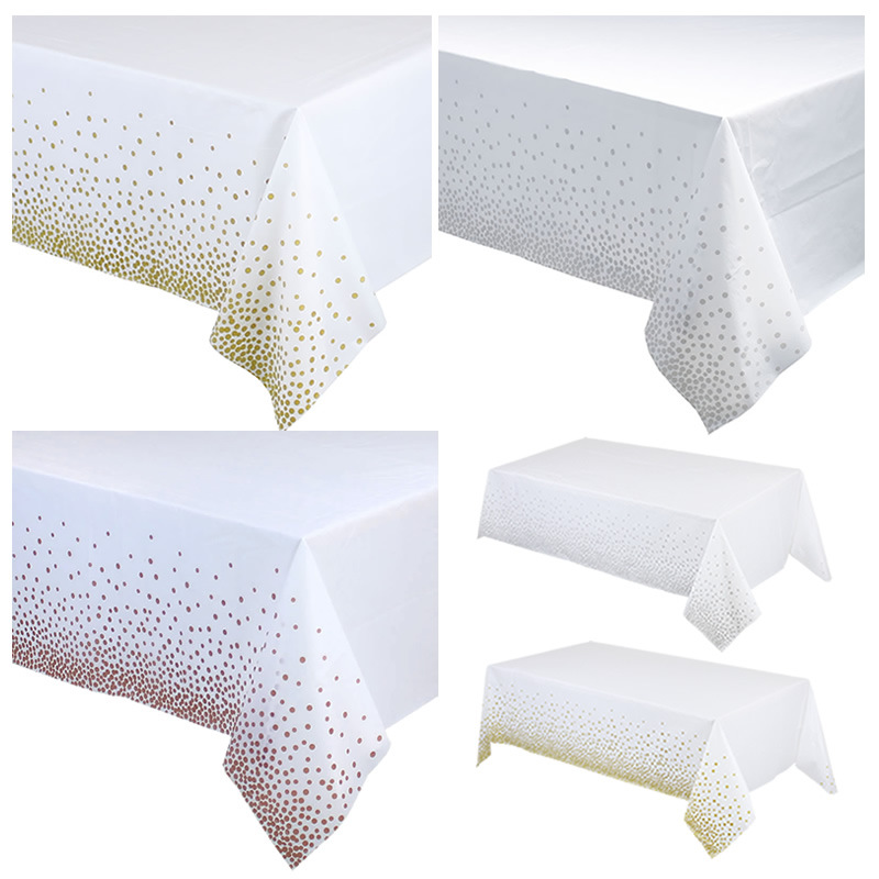 137cm*274cm Gold Dot Disposable Tablecloth Plastic Tablecloths For Rectangle Table Rectangular Table Cover Christmas Wedding