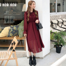 BGTEEVER Vintage Lace Up Printed Dress Women Ruffles Chiffon Female Maxi Dress Lining Elegant Party Vestidos femme 2019 Autumn