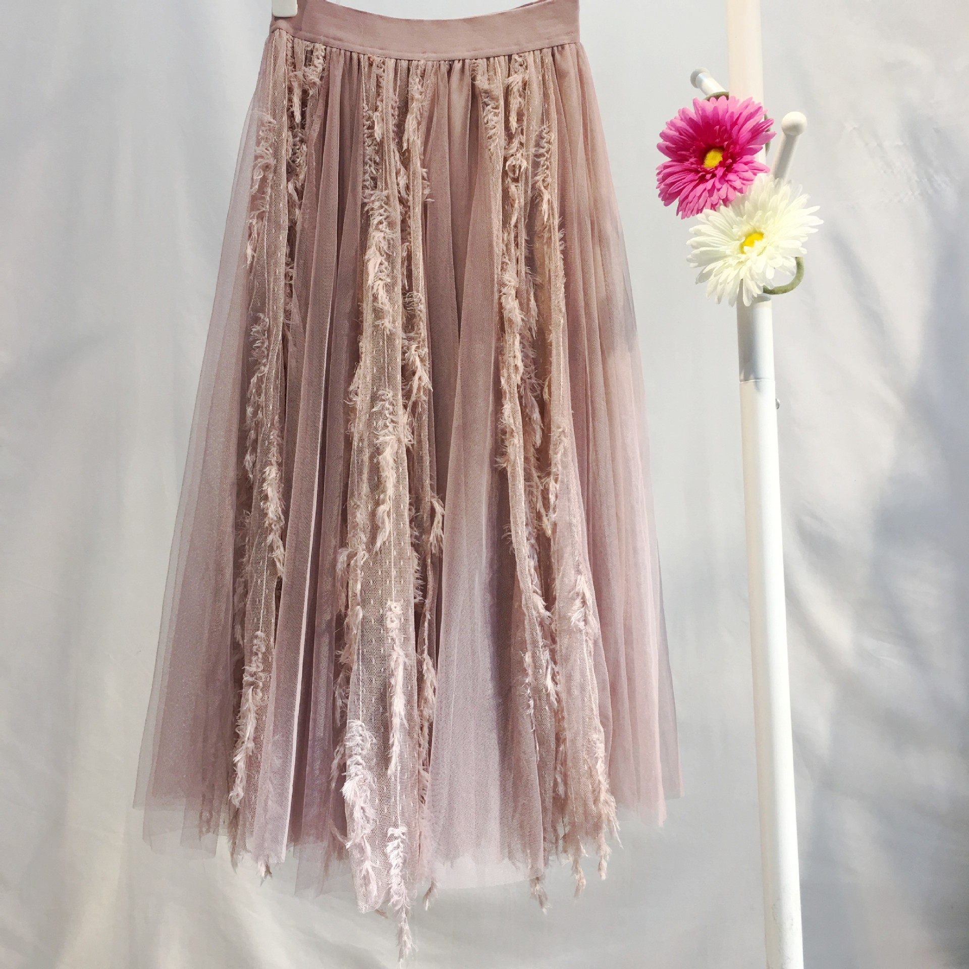 1899 # Lee Yu Wei CHIC Autumn And Winter New Style Korean-style High-waisted Long Gauze Feather Tassels INS Super Fire Skirt