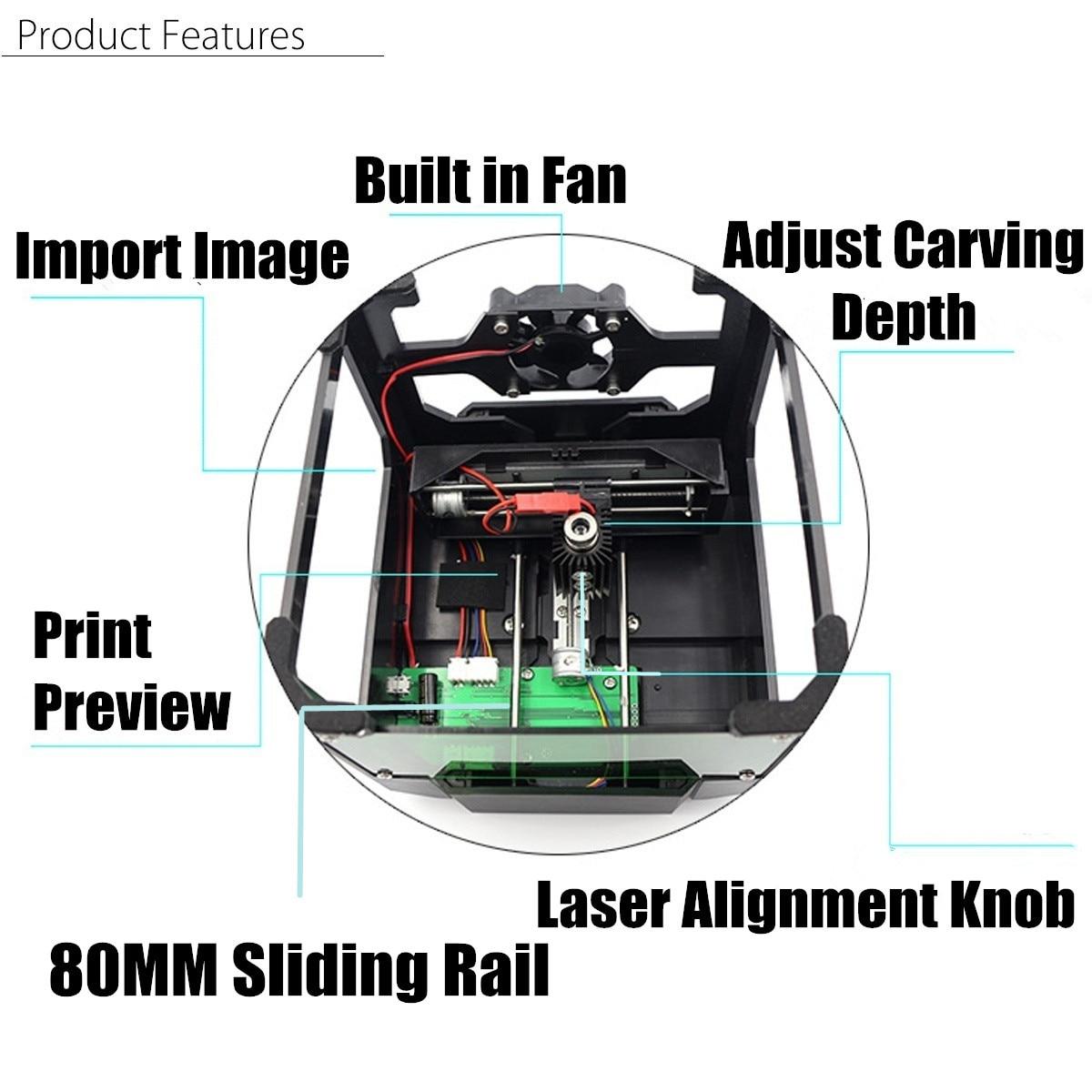 3000 mW CNC Laser Engraver DIY Logo Mark Printer Laser Engraving Carving Machine for FOR Windows for Mac OS System 3