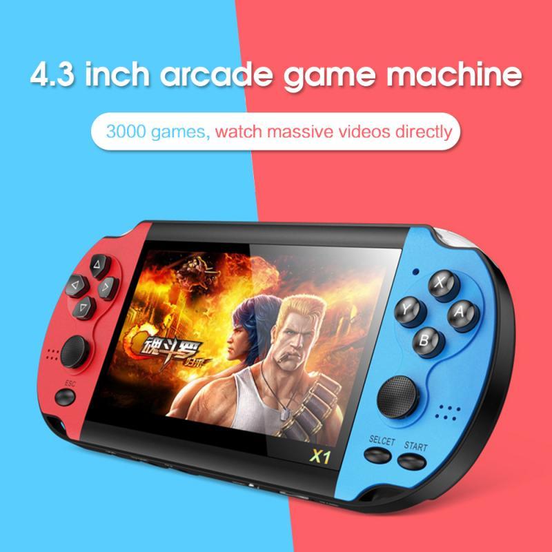 X1 Spiel Konsole 4,3-zoll Spielkonsole YLW Basis Joystick Für Schalter Spiel Konsole 8G Gebaut-in 10,000 spiele Handheld Spiel Spieler