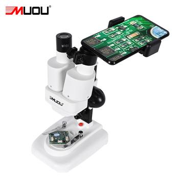 Zoom 20x 50X dwuokularowy stereoskopowy mikroskop LED światło do lutowania PCB lutowane telefon smartphone naprawa mineralne oglądanie edukacji tanie i dobre opinie MUOU 500X i Pod OSL-501 Z tworzywa sztucznego Mikroskop stereoskopowy Lornetka WF10X WF25X 20X 50X about 60mm About 55-75mm