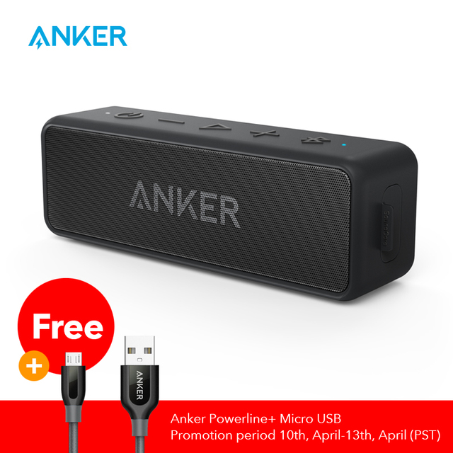 $ US $39.43 Anker Soundcore 2 Portable Bluetooth Wireless Speaker Better Bass 24-Hour Playtime 66ft Bluetooth Range IPX7 Water Resistance