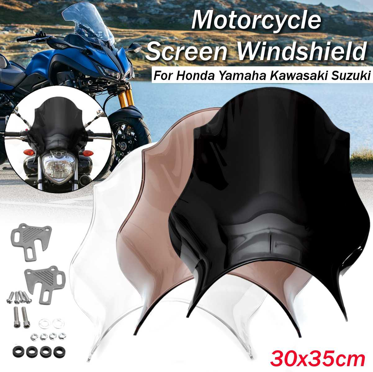 ABS Universal Motorcycle Front Windshield WindScreen For Honda/Yamaha/Kawasaki/Suzuki Deflector Clear Transparent Black