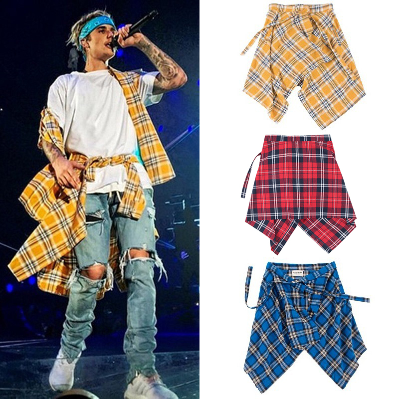 Bieber Baggy Scottish Plaid Shorts Skirts Men Irregular Hemline Hip Hop Tartan Skirt Urban Streetwear Dance Skirts For Male