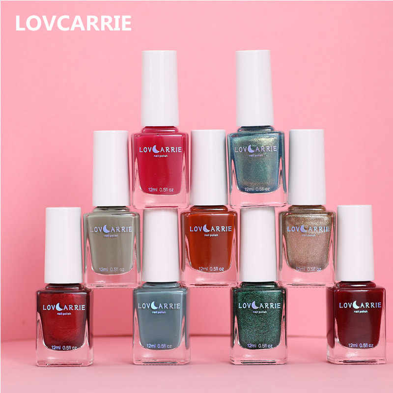 Lovcarrie 12 Ml Cat Kuku Biasa Regular Polish Nail Art Lacquer Manikur Pernis Matte Finish Mengkilap Holographic Nail Polish