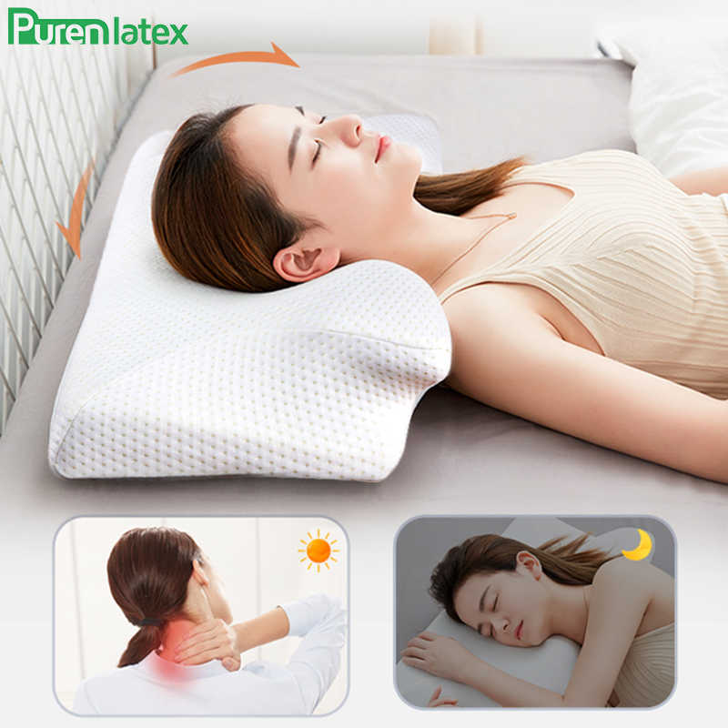 Purenlatex 13cm Contour Neck Pillow Orthopedic Memory Foam Cervical Pain Pillow for Side Back Stomach Sleeper White Case Pillows