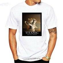 T-shirt Homme Blanc - Chat titanic-jack Et Rose-Film, Parodie Amusant France Fitness hommes t-shirts manteau hauts