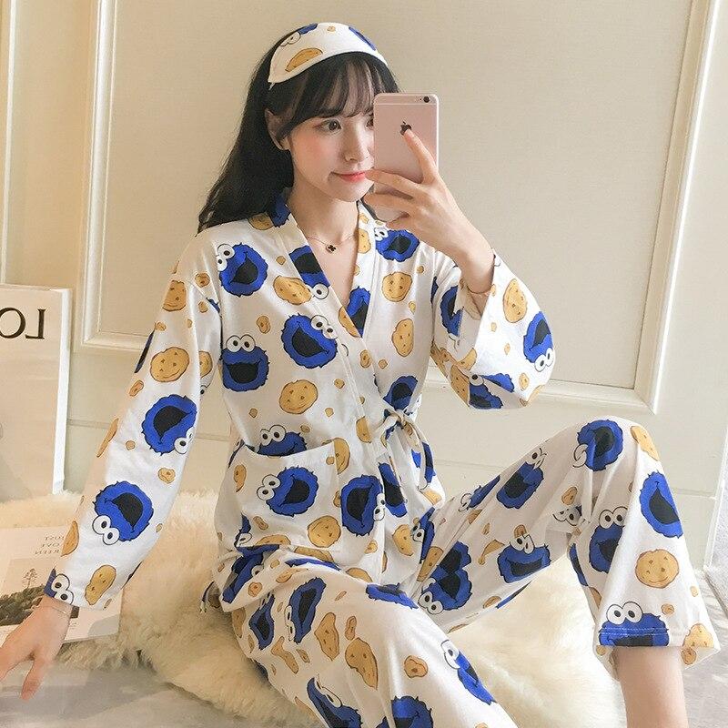 Kimono Pajamas Women's Spring And Autumn Cute Sesame Scholar Pure Cotton Long Sleeve Two-Piece Set Japanese Style Students Winte