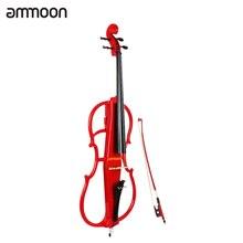 Ammoon 4/4 полноразмерная электрическая Виолончель из цельного дерева, виолончель, клен, дерево, корпус из черного дерева, фурнитура в стиле 1 с тюнером, наушники