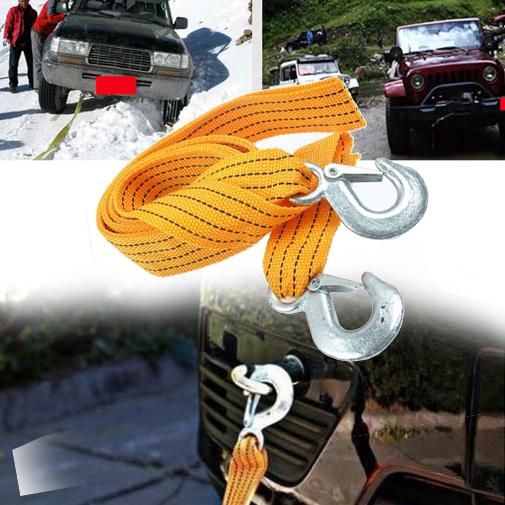 3 Tons Towing Rope Practical Durable Car Nylon With Hooks Fluorescent Emergency High Strength Road Accessories Truck