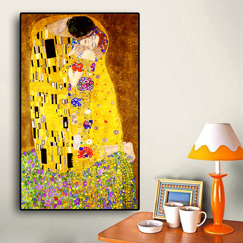 Classic-Artist-Gustav-Klimt-kiss-Abstract-Oil-Painting-on-Canvas-Print-Poster-Modern-Art-Wall-Pictures (2)