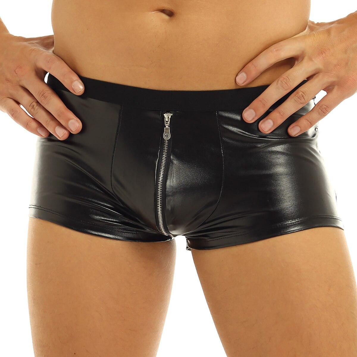 Mens Fashion Club Shorts Lingerie Wet Look Boxer Briefs Zipper Open Crotch Jockstraps Bulge Pouch Sexy Male Underwear Underpants