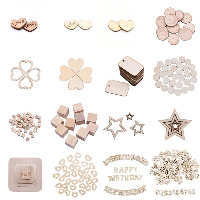 Bois artisanat blanc coeur bois tranches amour coeur rond forme numéro lettre mariage Table dispersion bricolage rustique fête décoration