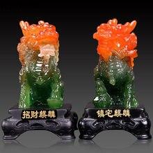 Żywica pomyślny gruby bóg bestia Feng Shui Kirin statua na blat biuro szafka do wina sztuka delikatne dekoracje bożonarodzeniowe na prezent