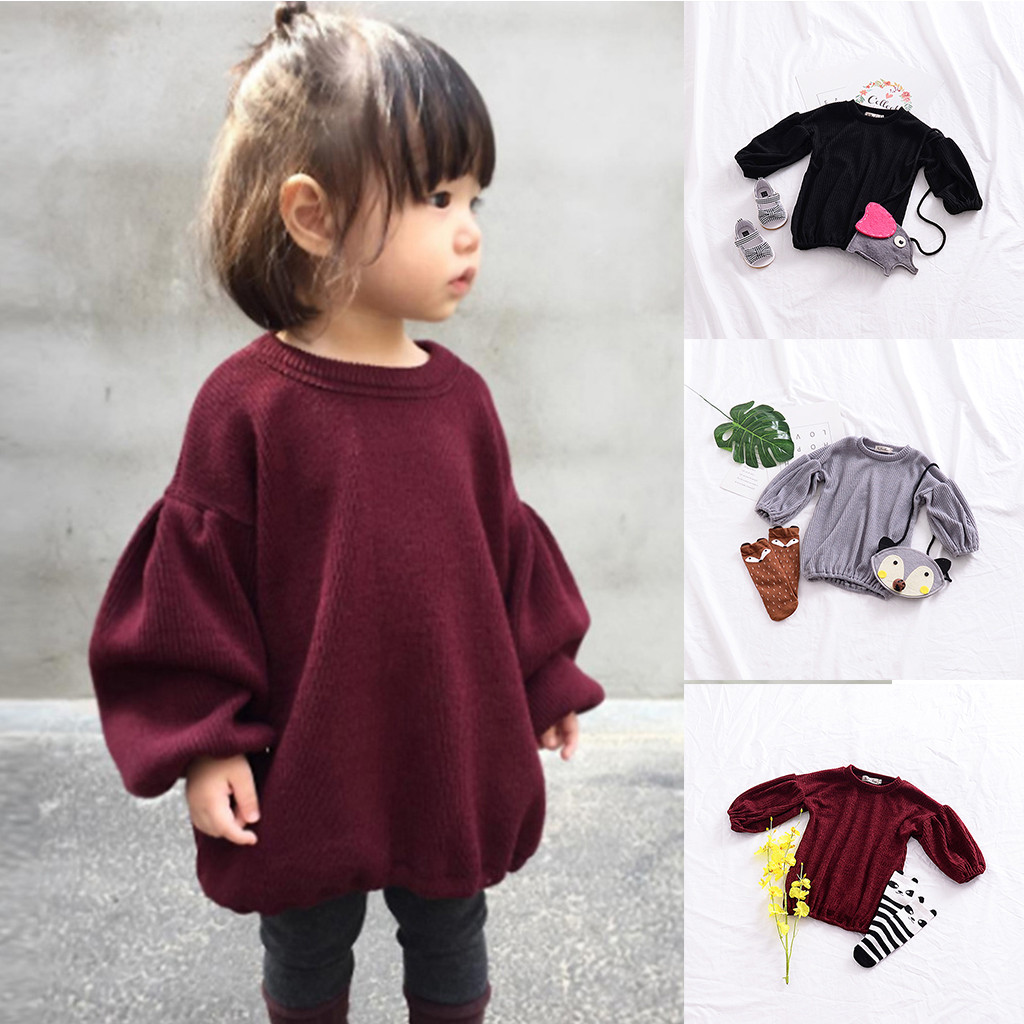 Hoodie Sweatshirt Baby Clothes  Toddler Infant Baby Kids Girls Solid Lantern Sleeve Shirt Tops Outfits Clothes толстовка Tops 1