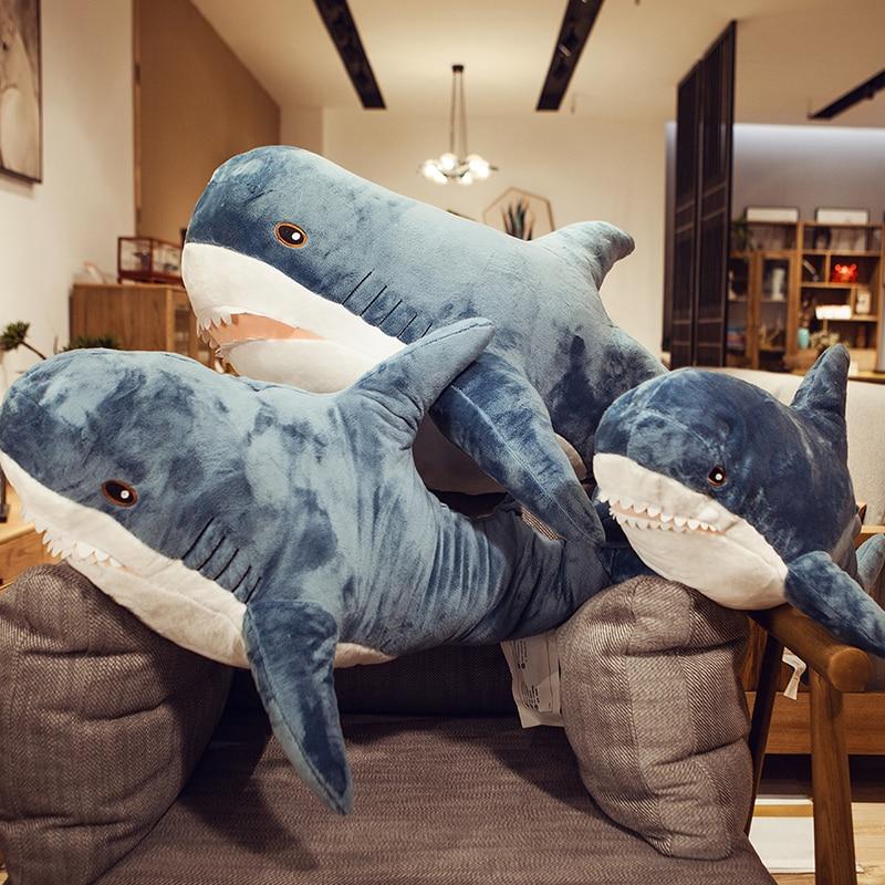 Big Shark Plush Toy Stuffed Animal Popular Sleeping Pillow Russia Shark Doll Soft Baby Appease Pillow Cushion Kid Birthday Gift
