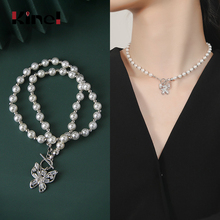 цена Kinel 925 Silver Necklace Ladies Natural Pearl Butterfly Pendant Necklace Wedding Party Fashion Sterling Silver Jewelry онлайн в 2017 году