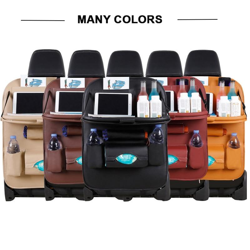 Car Seat Back Organizer Pu Leather Pad Bag Car Storage Organizer Foldable Table Tray Auto Accessories