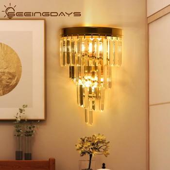 Buy 2 Get 15% Off Clear Crystal Stick Wall Lamps For Living Room Bedroom Home Decor Golden Wall Light E14 Bulb 2 Lights 110 220v
