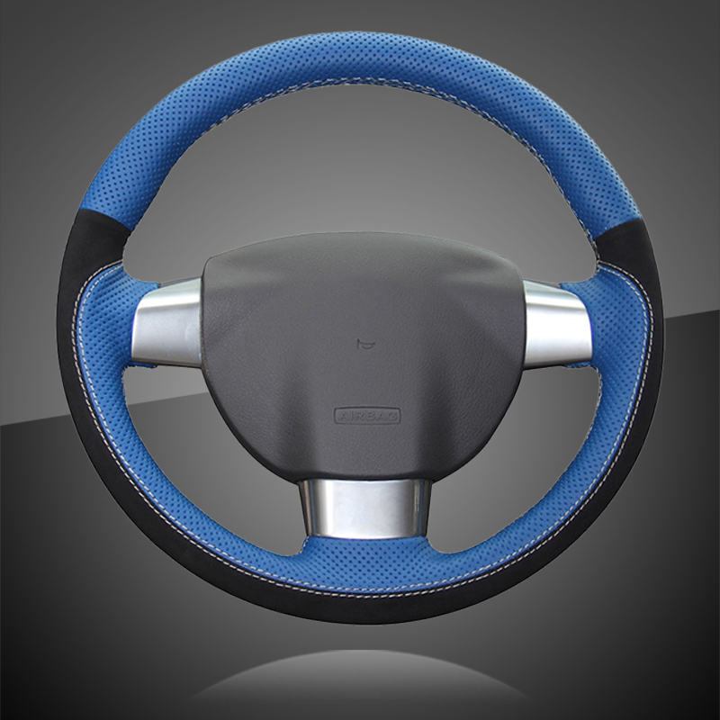 Braid On The Steering Wheel Cover for Ford Focus 2 2005-2011 (3-Spoke) Car Steering Covers leather Auto Interior Accessories