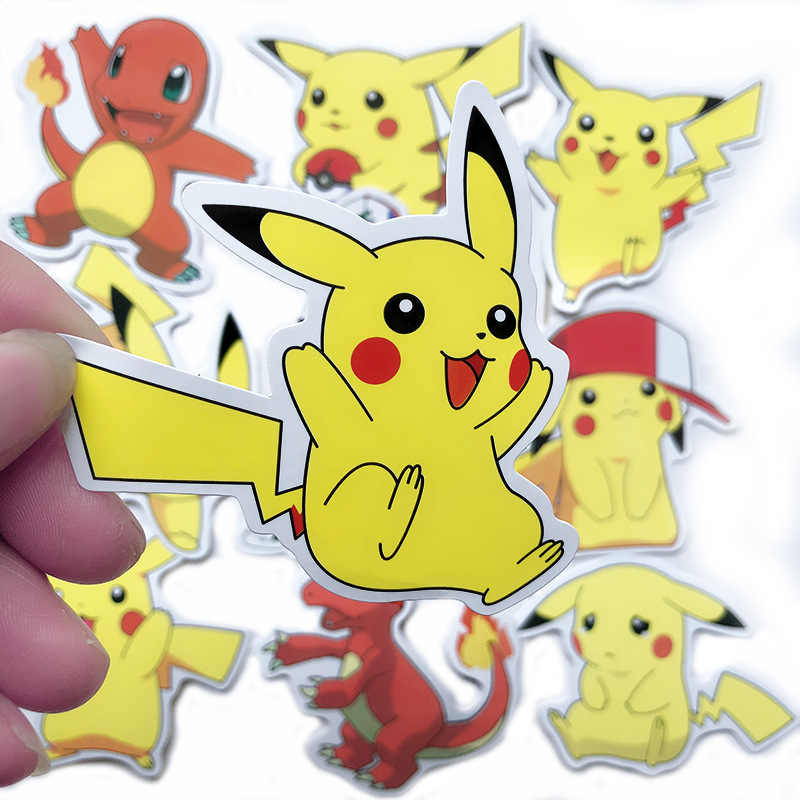 50 100 Pcs Pokemons Kartun Pvc Tahan Air Pikachu Stiker Notebook Komputer Laptop Bar Case Mobil Stiker