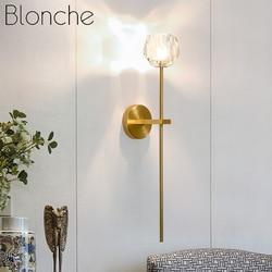 Postmodernistyczna kinkiet kryształowe oświetlenie naścienne Led w stylu skandynawskim do domu proste schody sypialnia salon Cafe lampka nocna kinkiet oprawa