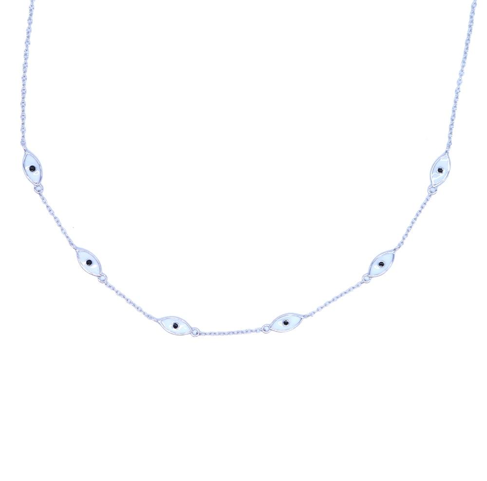 2020 fine 925 Sterling Silver white ocean sea Blue Enamel eye charm Pendant Necklaces Women 925 Silver Jewelry enamel eye choker