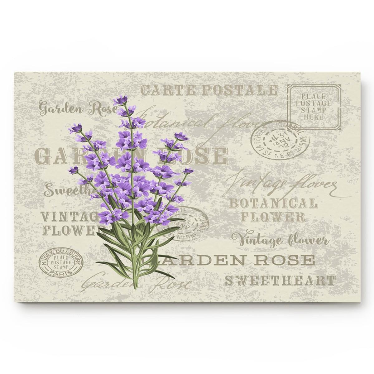 Нескользящий коврик для ванной комнаты, фиолетовый, лавандовый, с цветами, растениями, английские слова, аксессуары для ванной комнаты, гост...