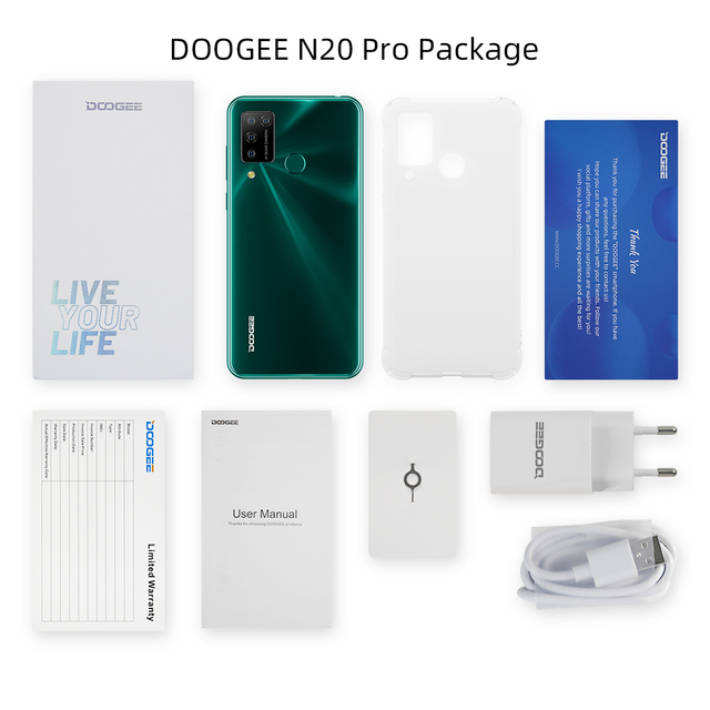 """DOOGEE N20 Pro Quad Camera Mobile Phones Helio P60 Octa Core 6GB RAM 128GB ROM Global Version 6.3"""" FHD+ Android 10 OS Smartphone 6"""
