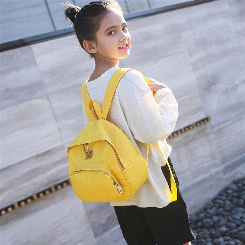 2019 New Style Children Backpack Nylon Solid Color Backpack Casual Travel Korean-style Kindergarten School Bag