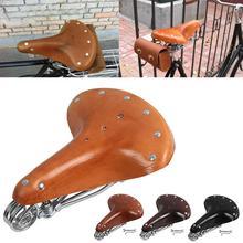 Sillín de bicicleta Retro cuero Vintage cuero genuino clásico sillín de bicicleta alfombrilla genuina sillín primavera cojín