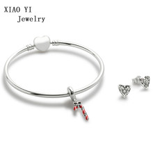 XIAOYI jewelry 100% 925 Sterling Silver sweet sparkling lollipop hanging charming heart bracelet female jewelry gift(China)