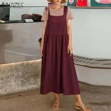 ZANZEA – robe de plage en coton et lin pour femmes, tenue de soirée, col carré, Sexy, sans manches, ample, couleur unie, été 2021, 2021