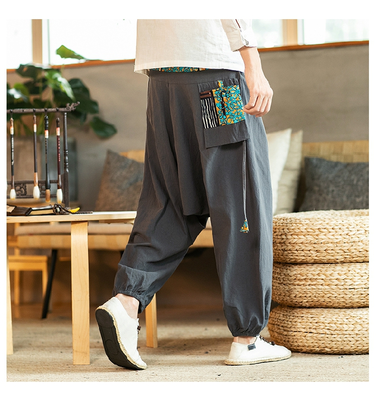 Sinicism Store Chinese Cross-Pants Men 2020 Autumn Oversize Fashion Mens Patchwork Button Pants Male Wide-legged Loose Pants 57