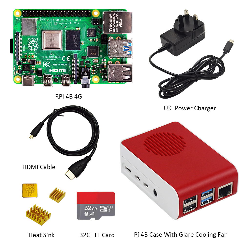 Original Raspberry Pi4 Model B Kit 4GB RAM + case with fan +EU/US/UK Type C 5V/3A Power charger+HDMI cable+32G TF card+ heatsink - 4