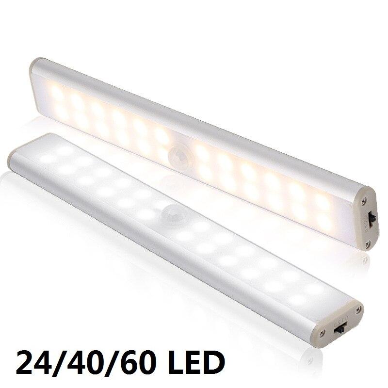 Lampada da armadio a LED con sensore di movimento 6 10 24 40 60 LED sotto la luce dellarmadio lampada da notte magnetica per scale da cucina armadio guardaroba